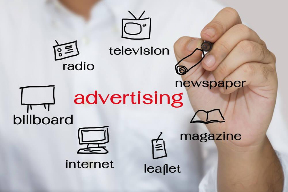 ilustrações sobre publicidade e suas mídias