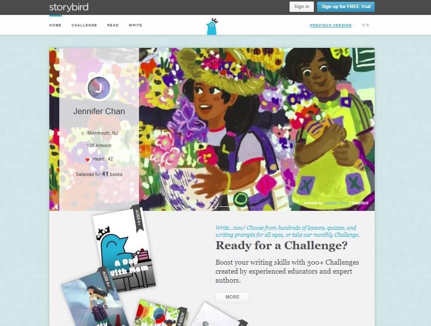 imagem da página inicial da ferramenta Web StoryBird