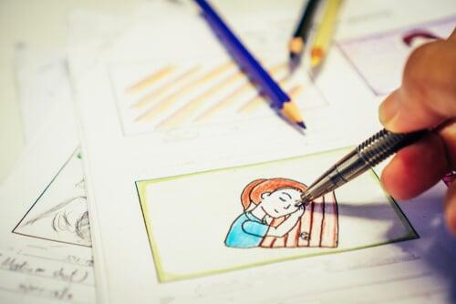 imagem de desenho em caneta e lápis colorido