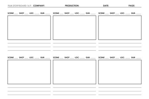 imagem de exemplo de projeto de storyboard em branco