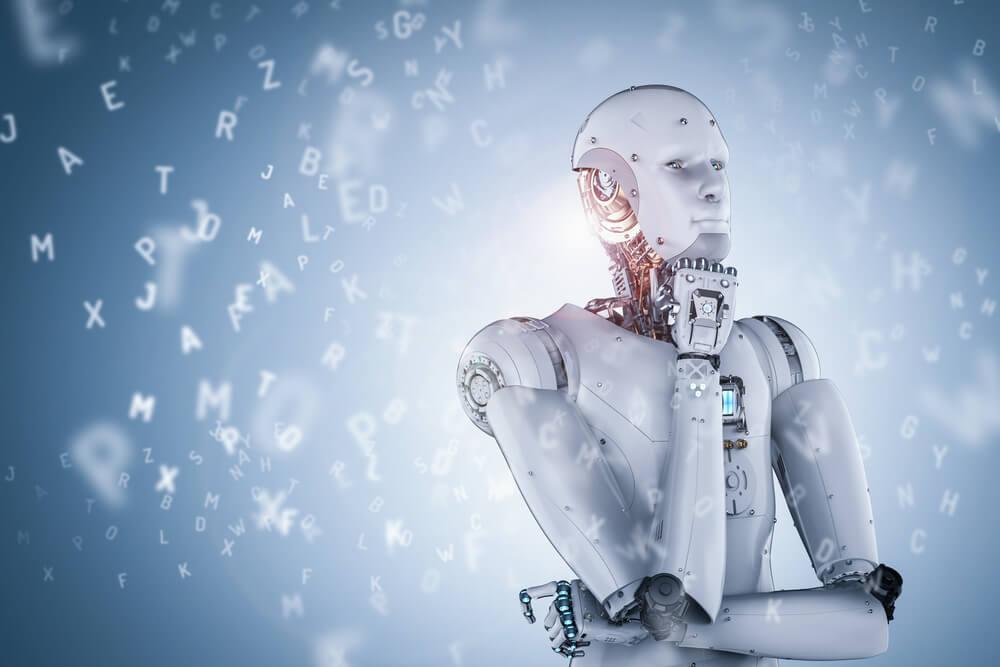 imagem de robô e letras espalhadas