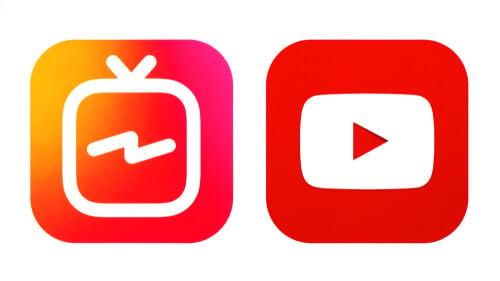 Logos das ferramentas IGTV e Youtube