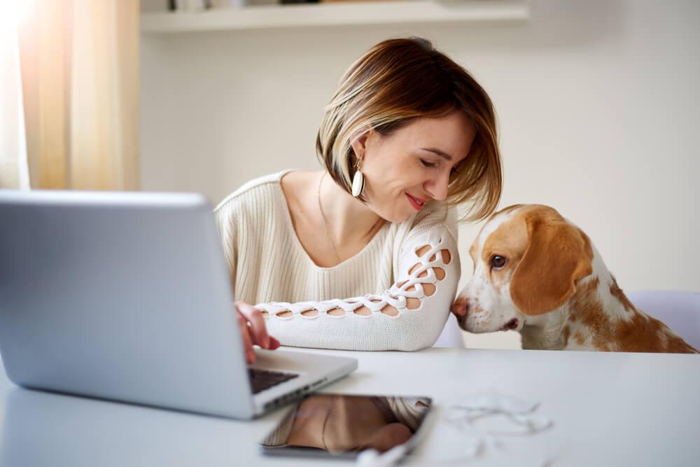 moça ao laptop junto de cachorro