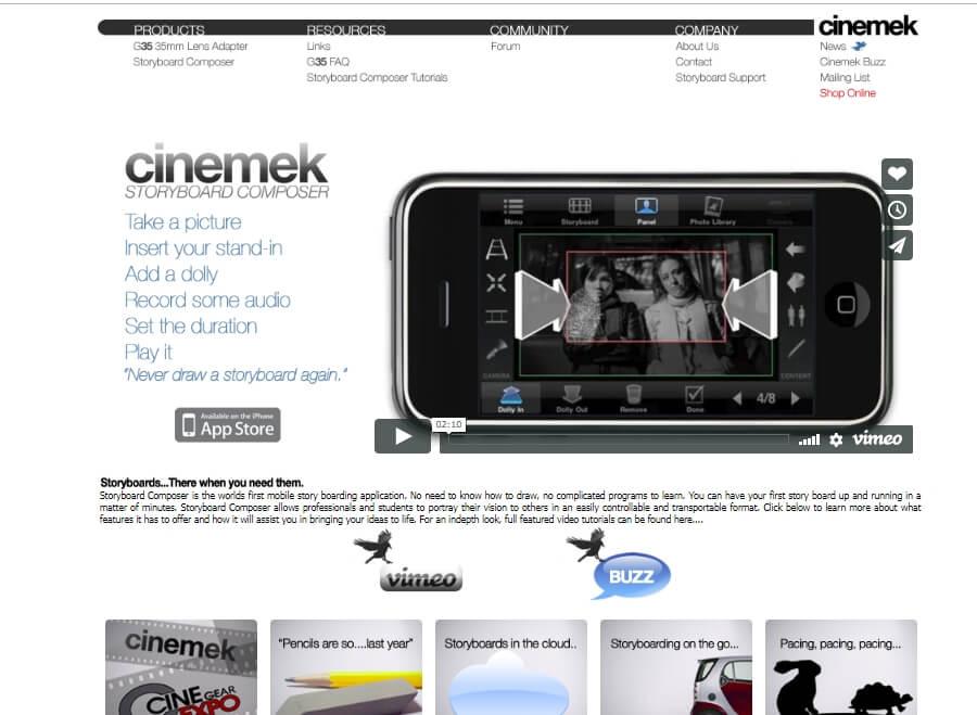 página da ferramenta web de criação Storyboard Composer Cinemek