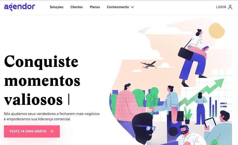 página inciial do site para desktop da plataforma Agendor