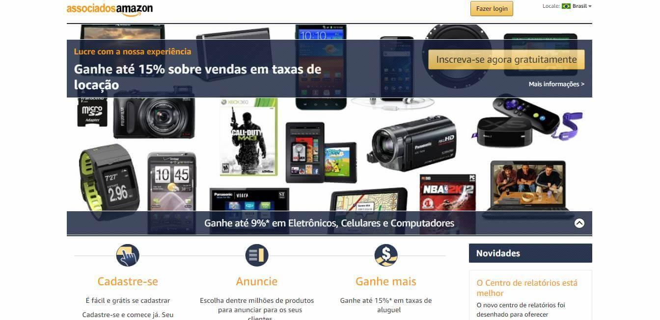 página inicial da plataforma Amazon para afiliados