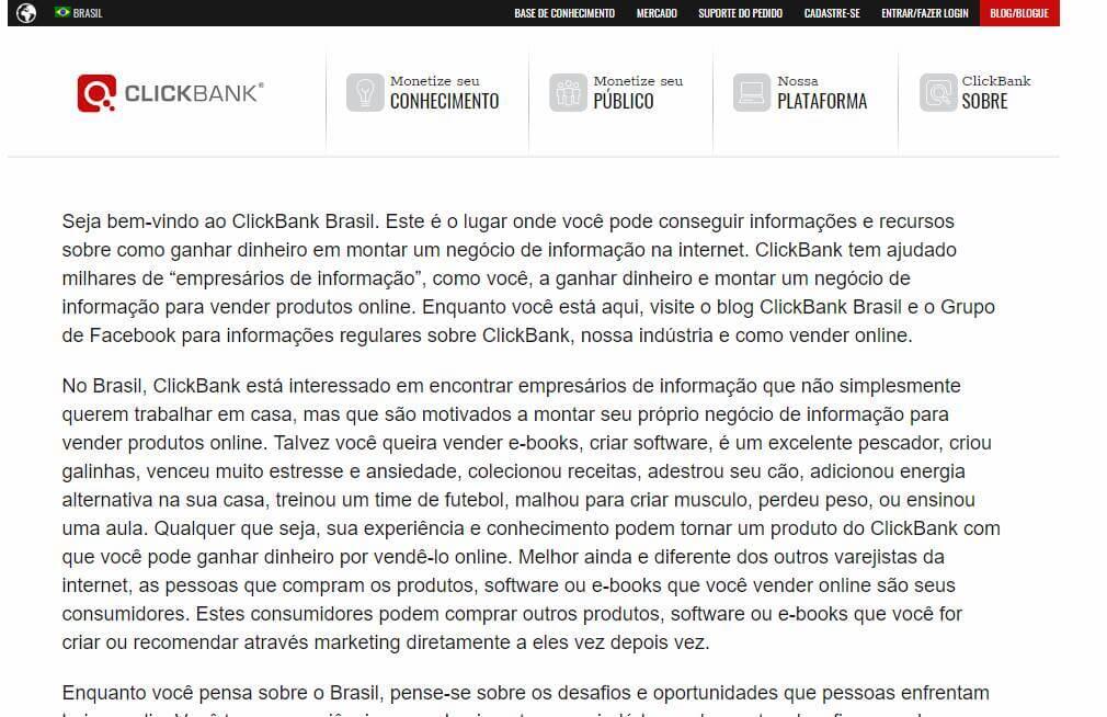 página inicial da plataforma Clickbank para afiliados