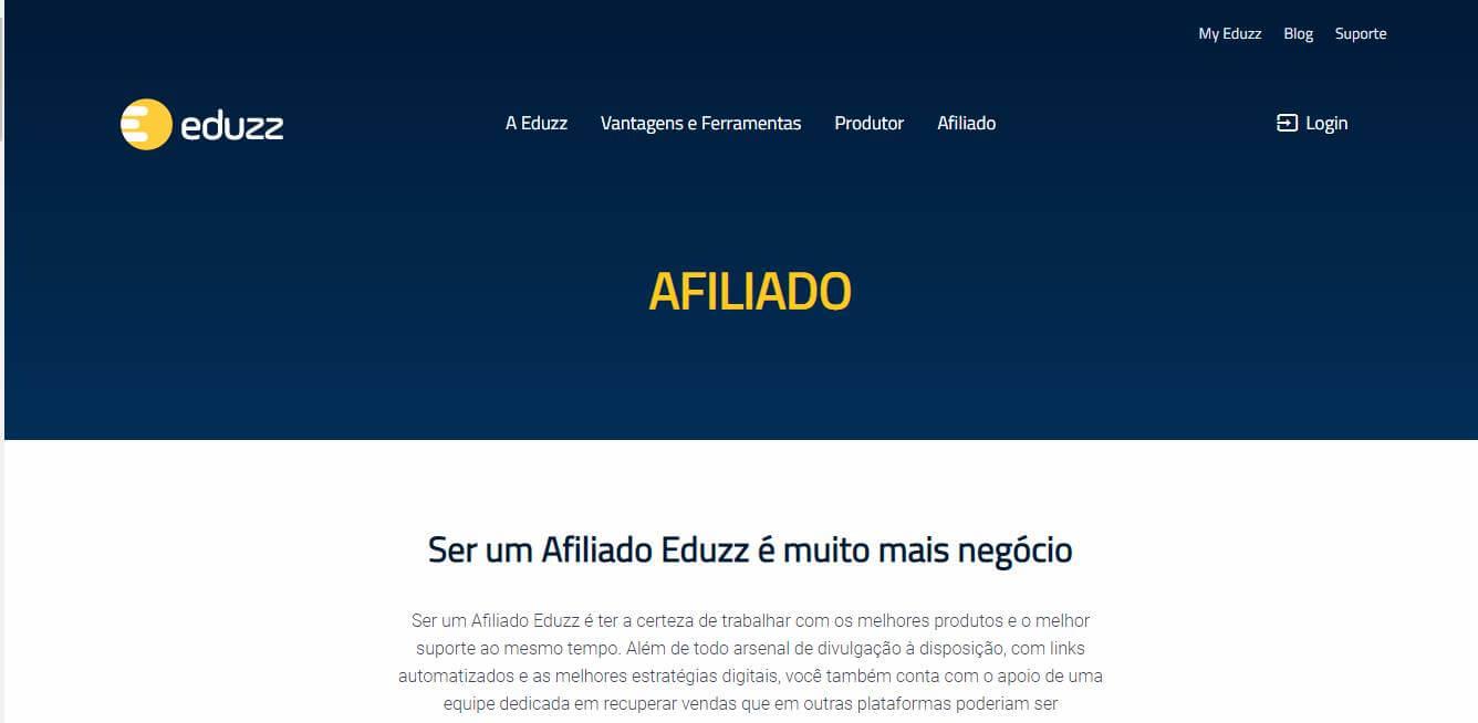 página inicial da plataforma Eduzz para afiliados