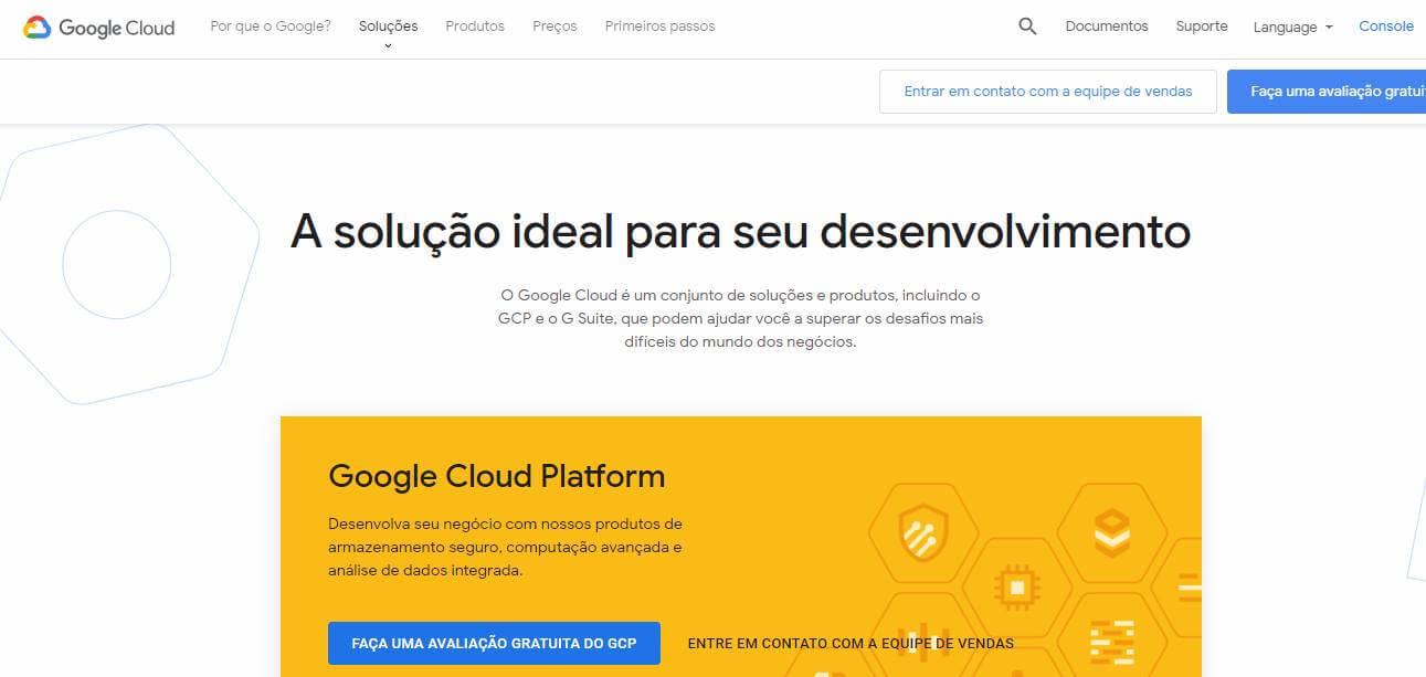 página inicial da plataforma Google Cloud