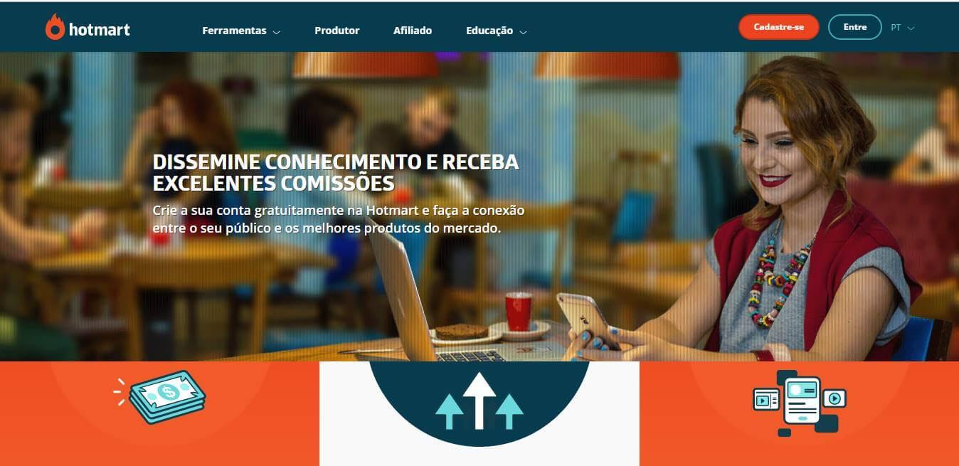 página inicial da plataforma Hotmart para afiliados