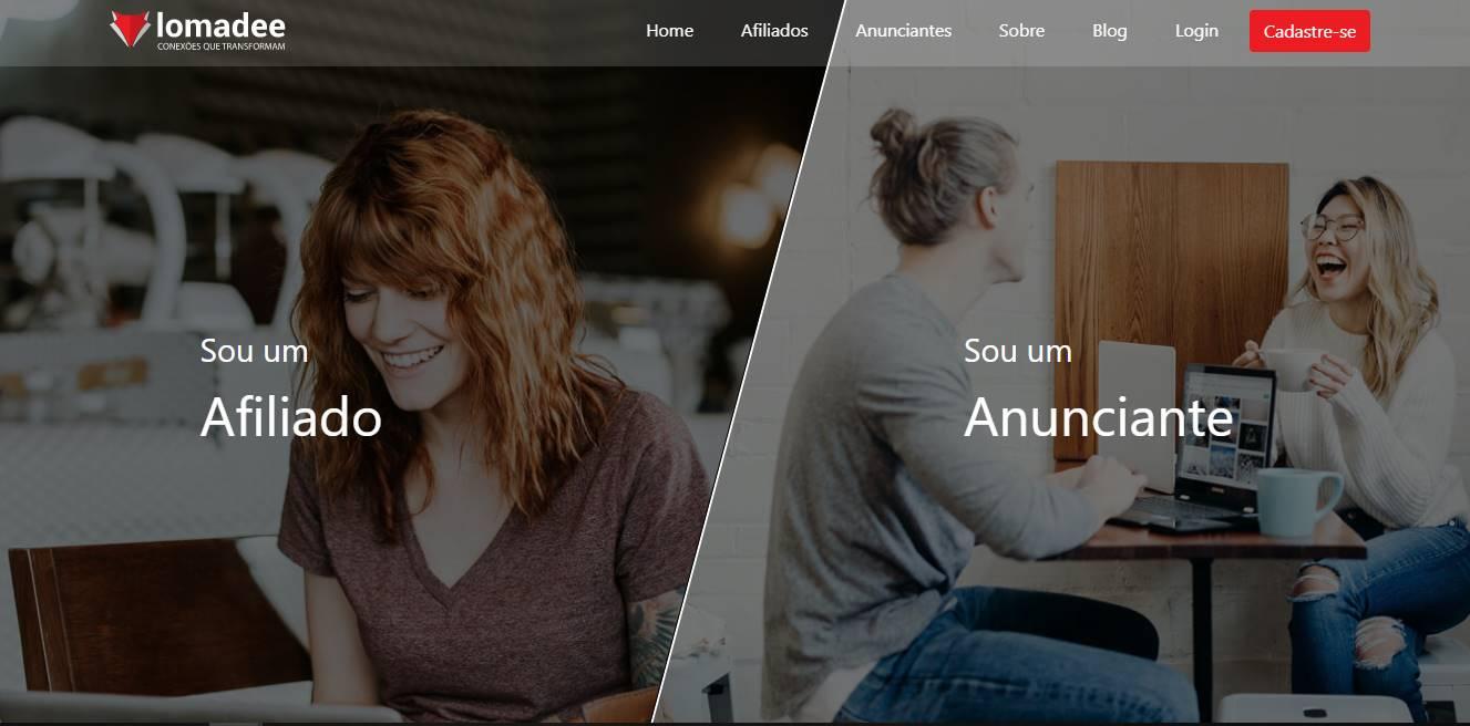 página inicial da plataforma Lomadee para afiliados