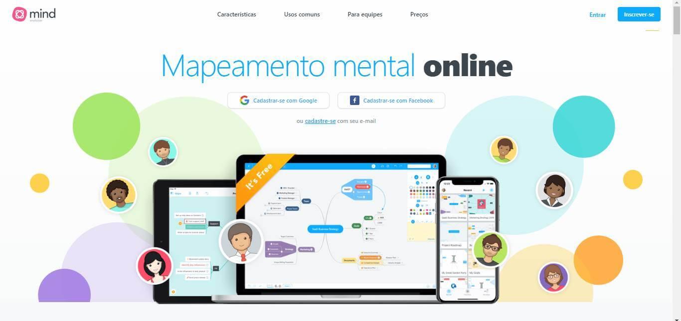 página inicial da plataforma MindMeister para desenvolver criatividade