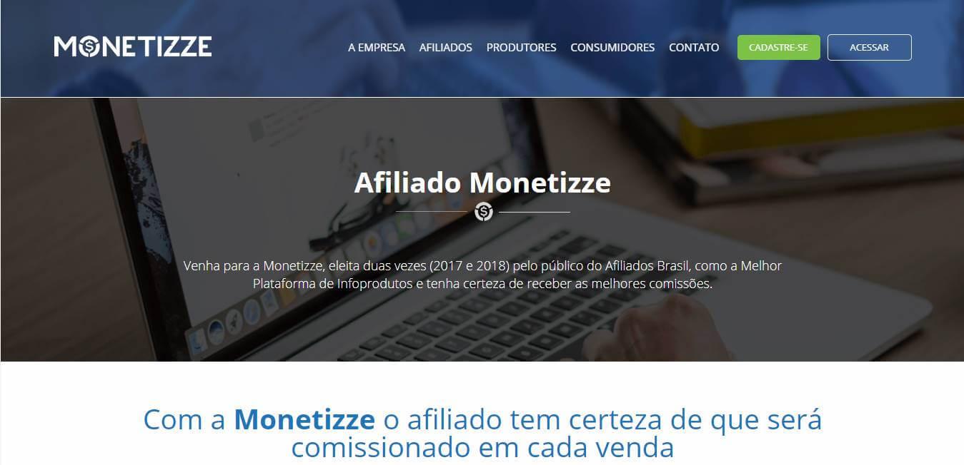 página inicial da plataforma Monetizze para afiliados