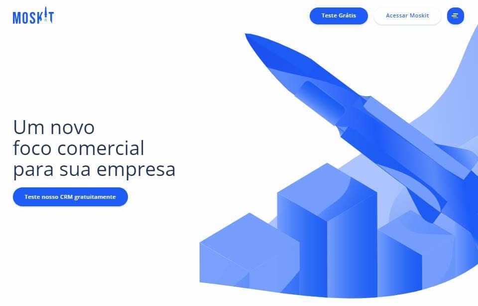 página inicial da plataforma Moskit para desktop