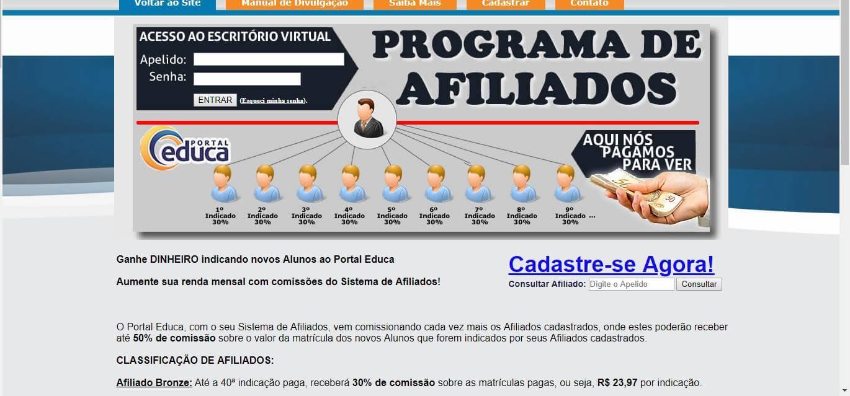 página inicial da plataforma Portal da educação para afiliados