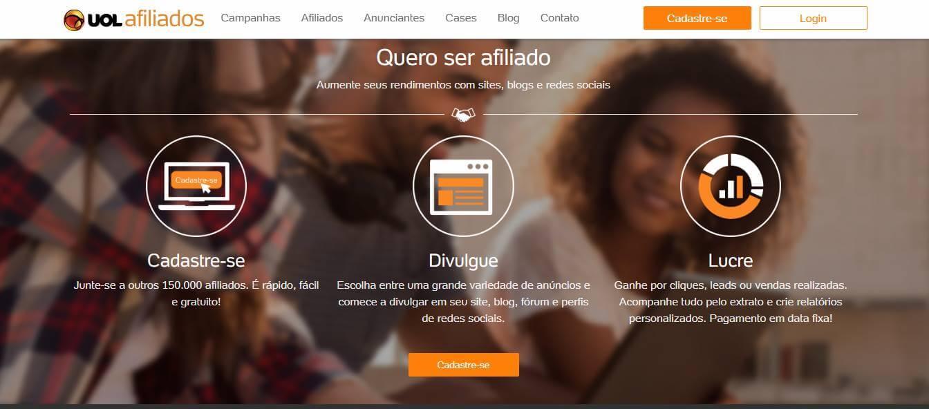 página inicial da plataforma UOL para afiliados