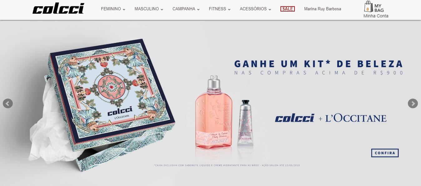 página inicial de site da marca Colcci