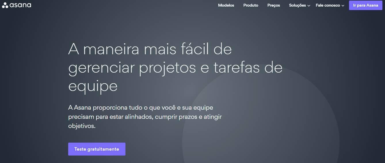 página inicial do site da ferramenta Asana para desktop