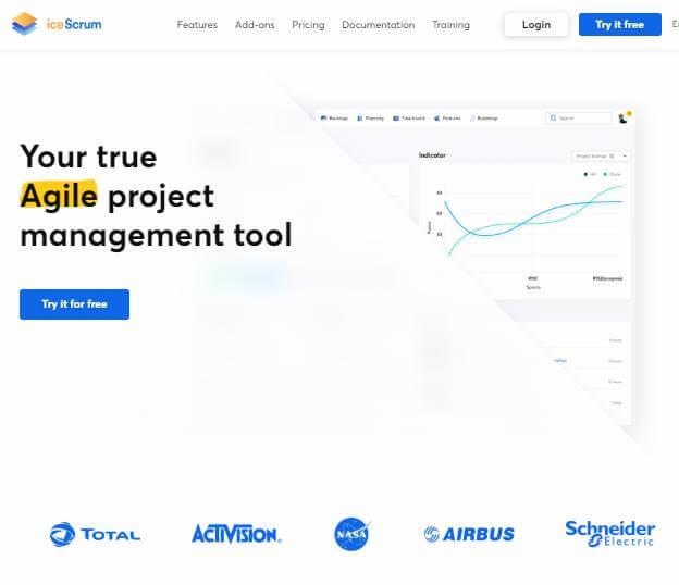 página inicial do site da ferramenta IceScrum para desktop