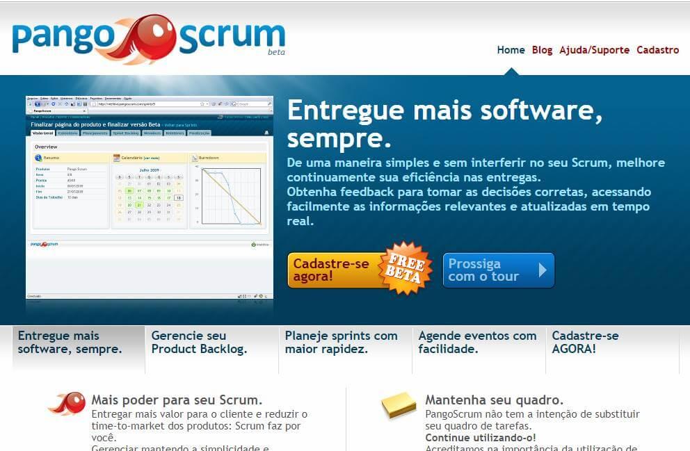 página inicial do site da ferramenta PangoScrum para desktop