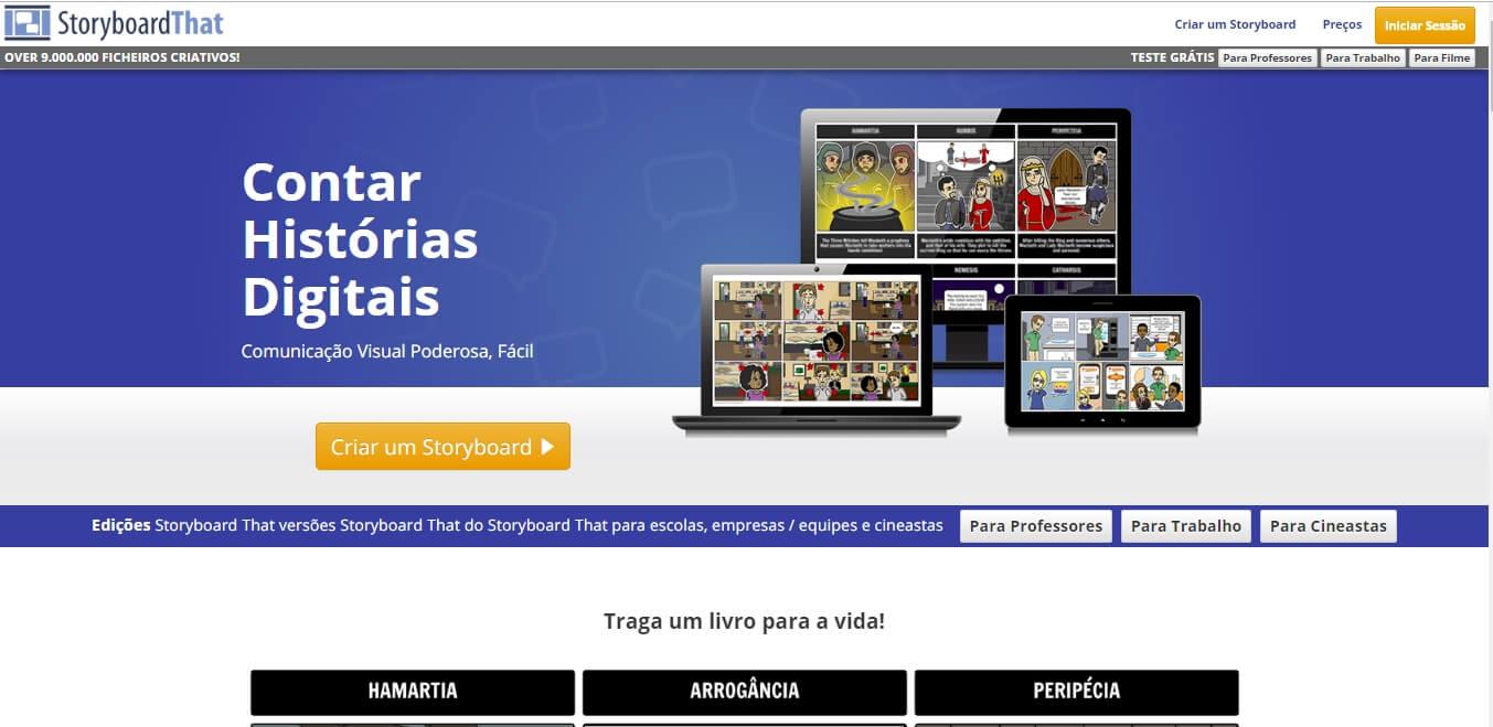página inicial do site da ferramenta Storyboard That