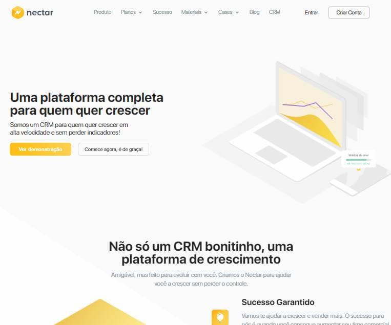 página inicial do site da plataforma Nectar CRM