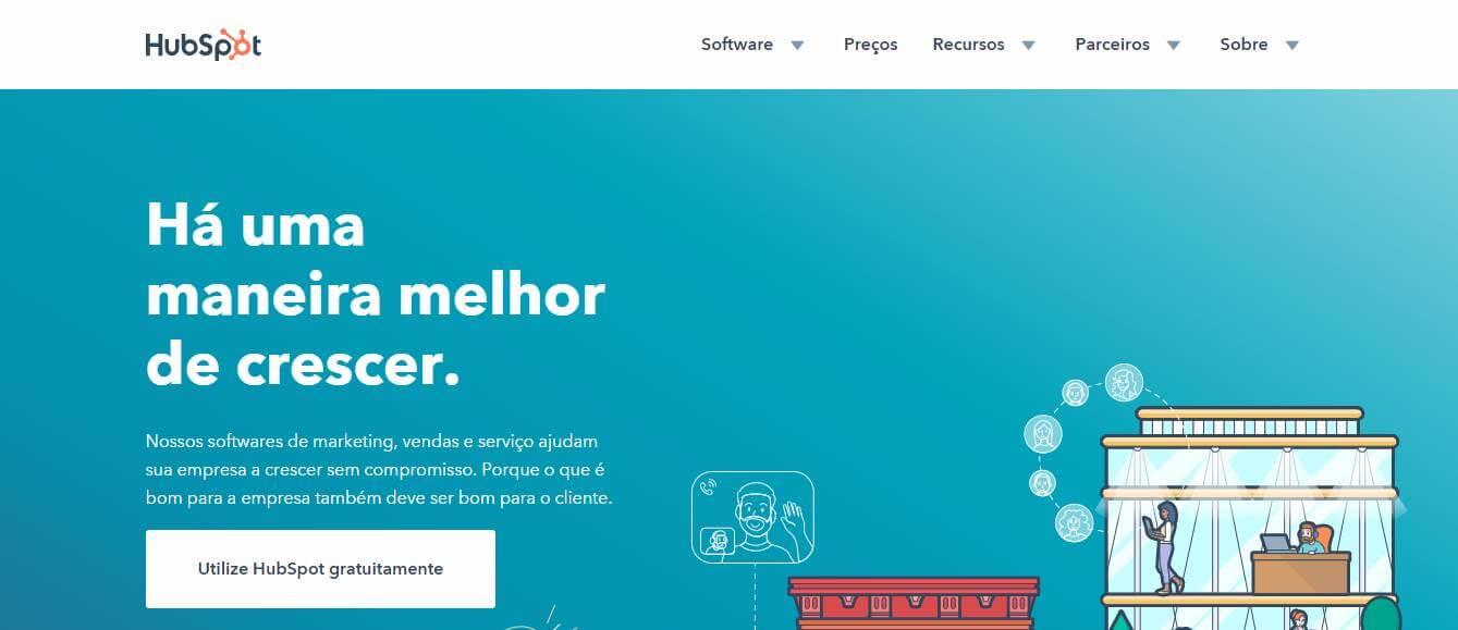página inicial do site HubSpot