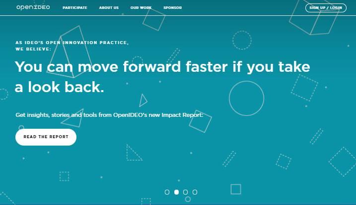 página inicial do site Open IDEO