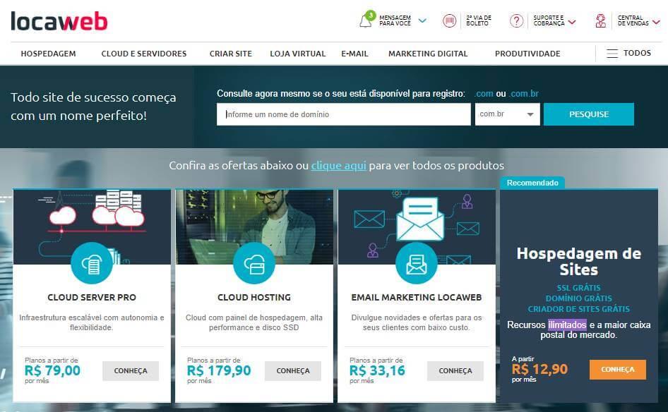 página inicial do site para desktop da plataforma LocaWeb
