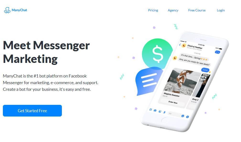 página inicial do site para desktop Manychat
