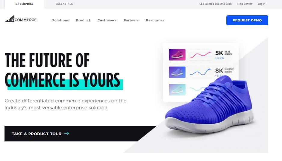 página inicial web da plataforma BigCommerce