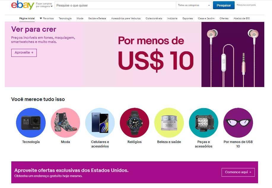 página inicial web da plataforma eBay