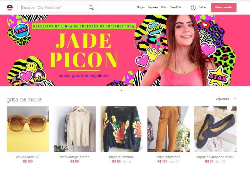 página inicial web da plataforma Enjoei