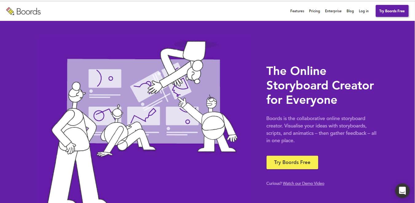 página inicial web do Site da ferramenta Boords