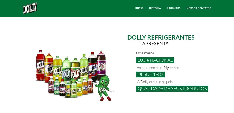 página inicial web do site da marca de refrigerantes brasileiros Dolly