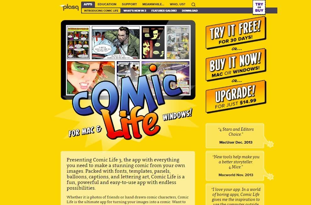 página web da ferramenta webComic Life