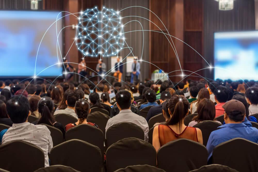 palestra institucional com ilustração de cérebro com ligações