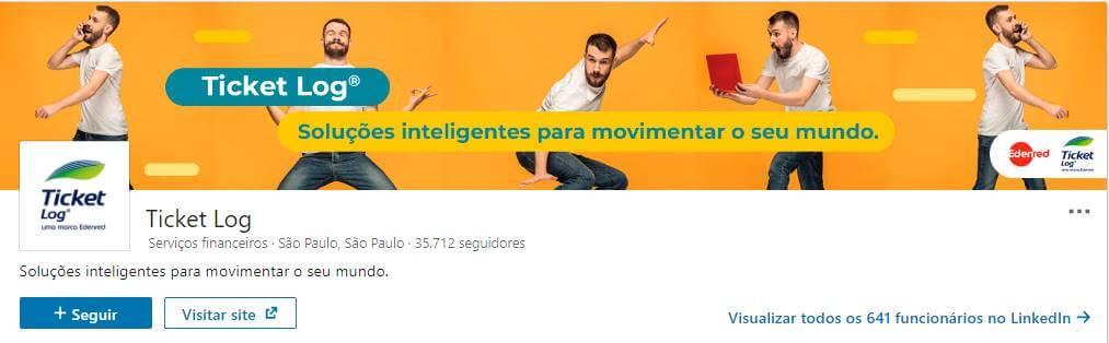 perfil da empresa Ticket Log na plataforma LinkedIn