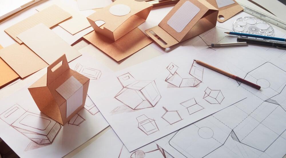 rascunhos e protótipos de produto