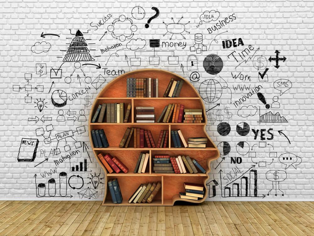 silhueta de homem como estante de livros representando conhecimento