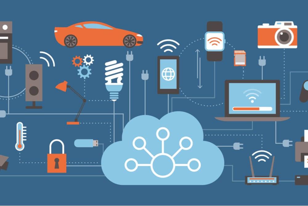 símbolos de tecnologias ligadas pela internet