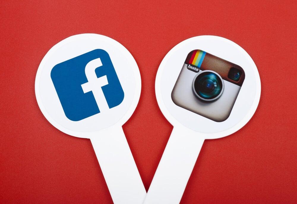 Símbolos do Instagram e facebook