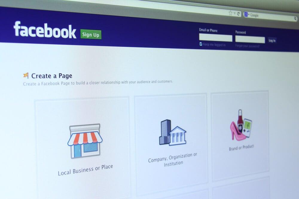 tela de criação de página no Facebook