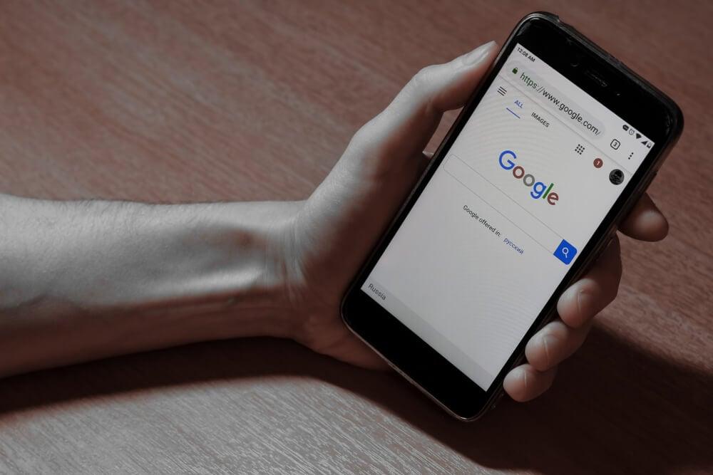 tela de pesquisa do google em smartphone