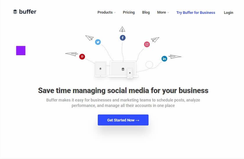 tela inicial do site da ferramenta Buffer