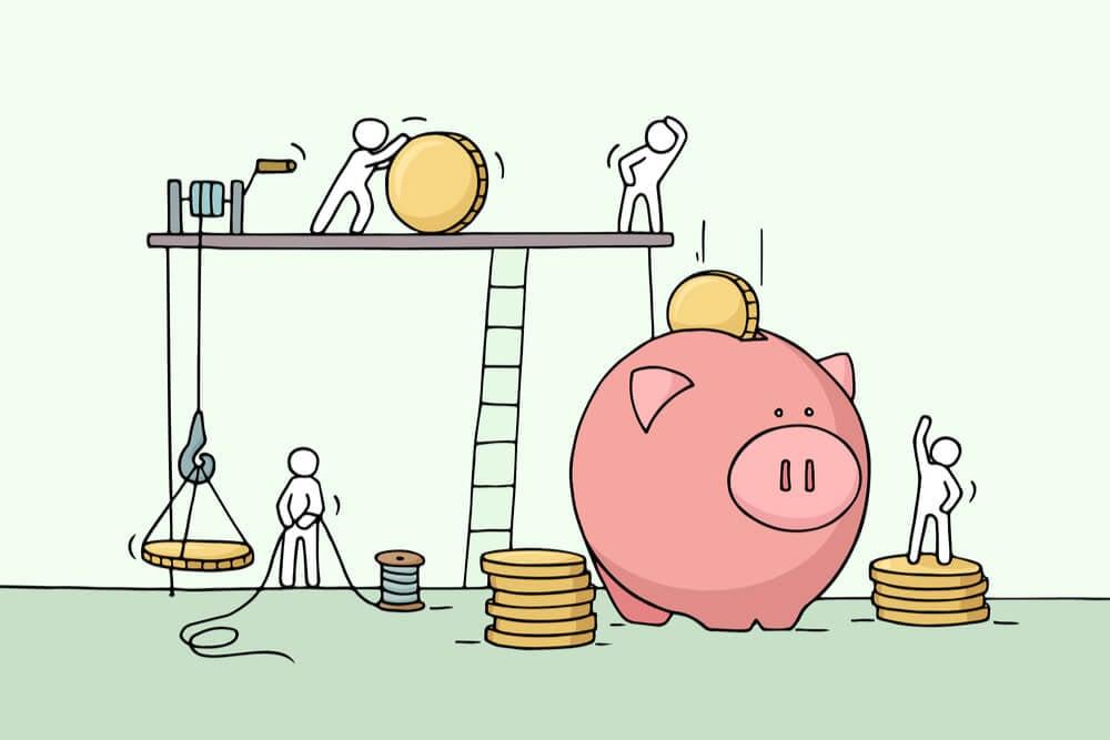 ilustração moedas cofrinho