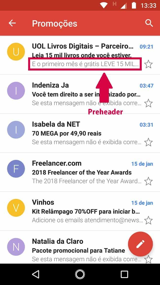 captura de tela com lista de emails