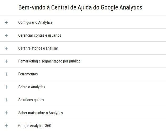 captura de tela de central de ajuda do google analytics