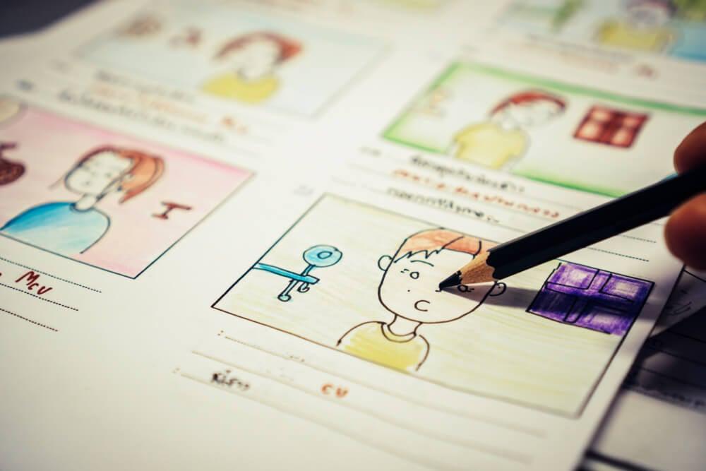 desenhos em papel de quadros de motion graphics