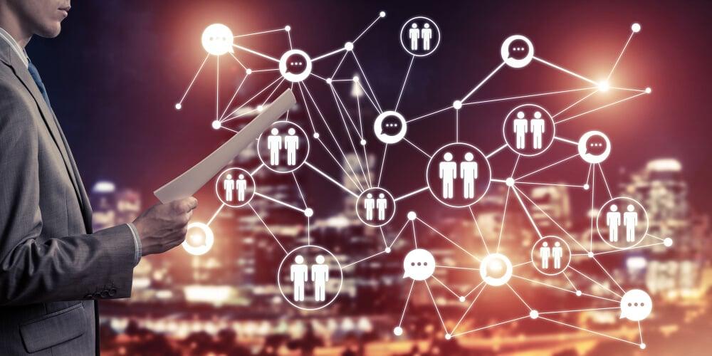 diagrama de ligação entre símbolos significando comunicação interna de empresas